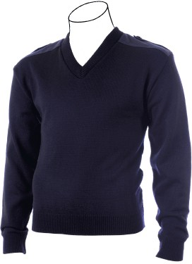 PSC Cobmex® V-Neck Military Sweater - with Button Down Epaulettes, Shoulder & Elbow Patches