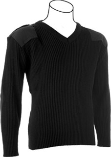 PSC Cobmex® V-Neck Rib Commando Sweater - with Button Down Epaulettes, Shoulder & Elbow Patches