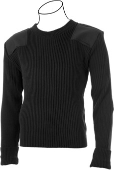 PSC Cobmex® Crew-Neck Rib Commando Sweater - with Velcro Epaulettes, Shoulder & Elbow Patches